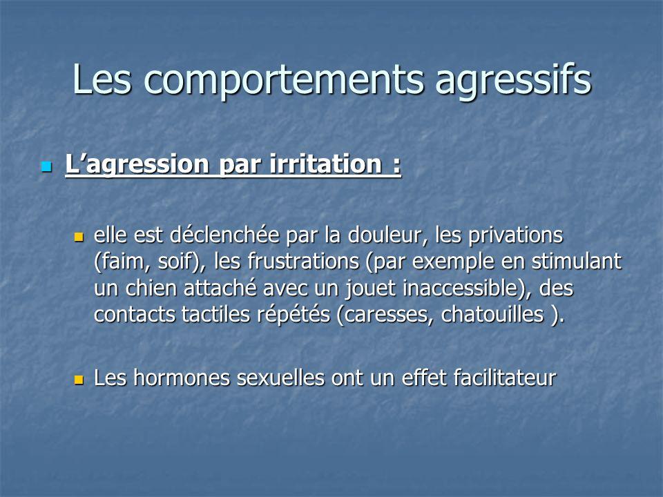 Lagression par irritation : Lagression par irritation : elle est déclenchée par la douleur, les privations (faim, soif), les frustrations (par exemple