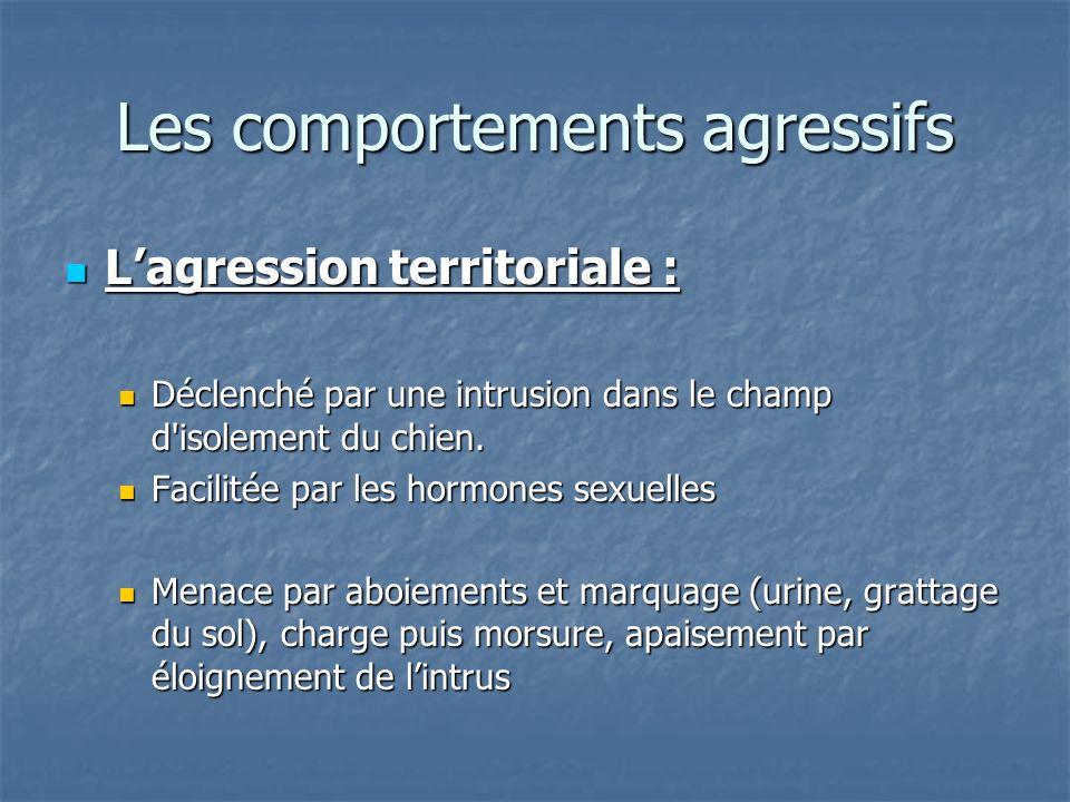 Lagression territoriale : Lagression territoriale : Déclenché par une intrusion dans le champ d'isolement du chien. Déclenché par une intrusion dans l