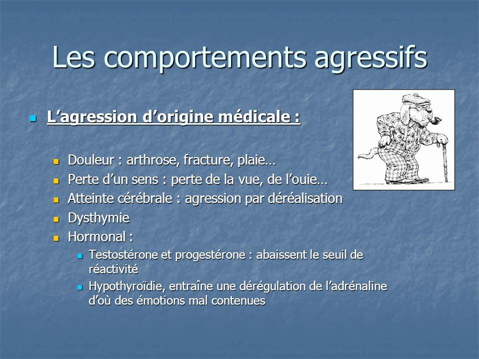 Les comportements agressifs Lagression dorigine médicale : Lagression dorigine médicale : Douleur : arthrose, fracture, plaie… Douleur : arthrose, fra