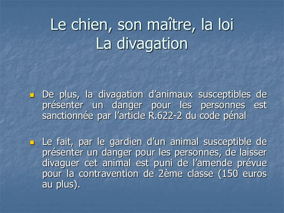 Le chien, son maître, la loi La divagation De plus, la divagation danimaux susceptibles de présenter un danger pour les personnes est sanctionnée par