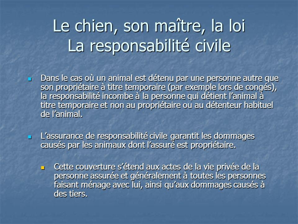Le chien, son maître, la loi La responsabilité civile Dans le cas où un animal est détenu par une personne autre que son propriétaire à titre temporai