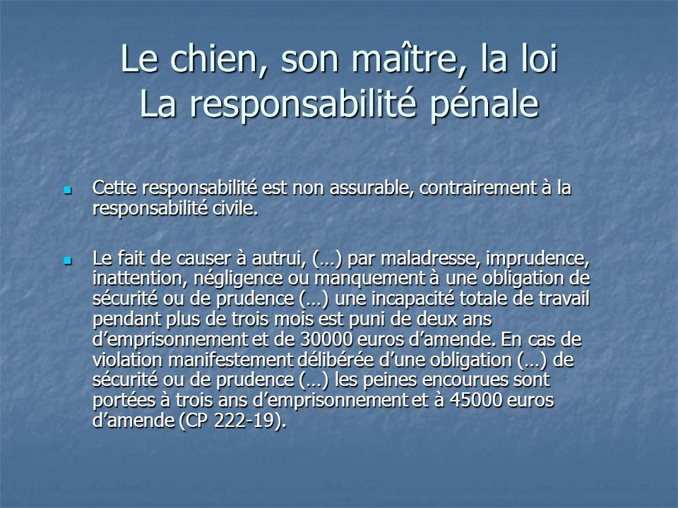 Le chien, son maître, la loi La responsabilité pénale Cette responsabilité est non assurable, contrairement à la responsabilité civile. Cette responsa