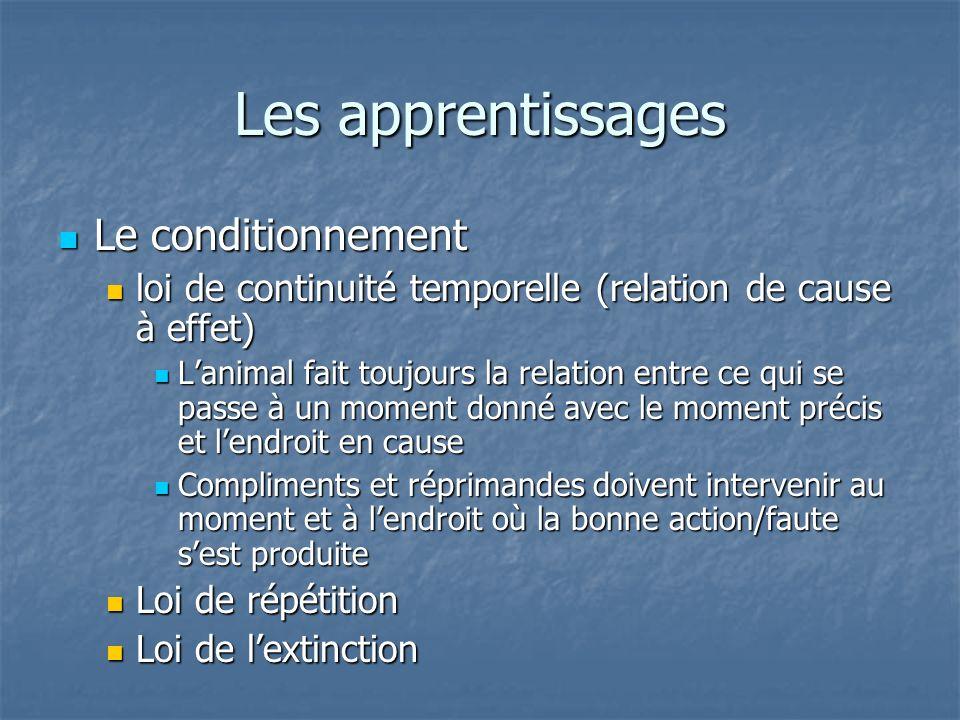 Le conditionnement Le conditionnement loi de continuité temporelle (relation de cause à effet) loi de continuité temporelle (relation de cause à effet