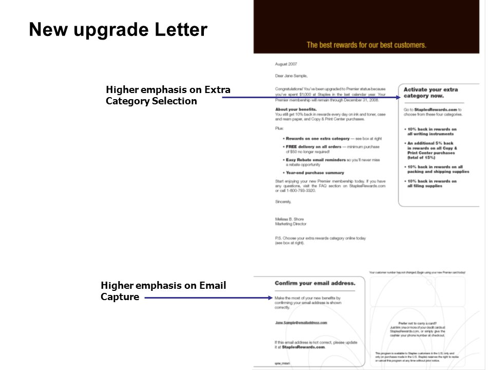 New upgrade Letter Higher emphasis on Extra Category Selection Higher emphasis on Email Capture
