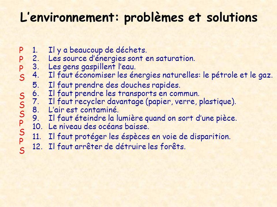 Lenvironnement: problèmes et solutions 1.Il y a beaucoup de déchets. 2.Les source dénergies sont en saturation. 3.Les gens gaspillent leau. 4.Il faut
