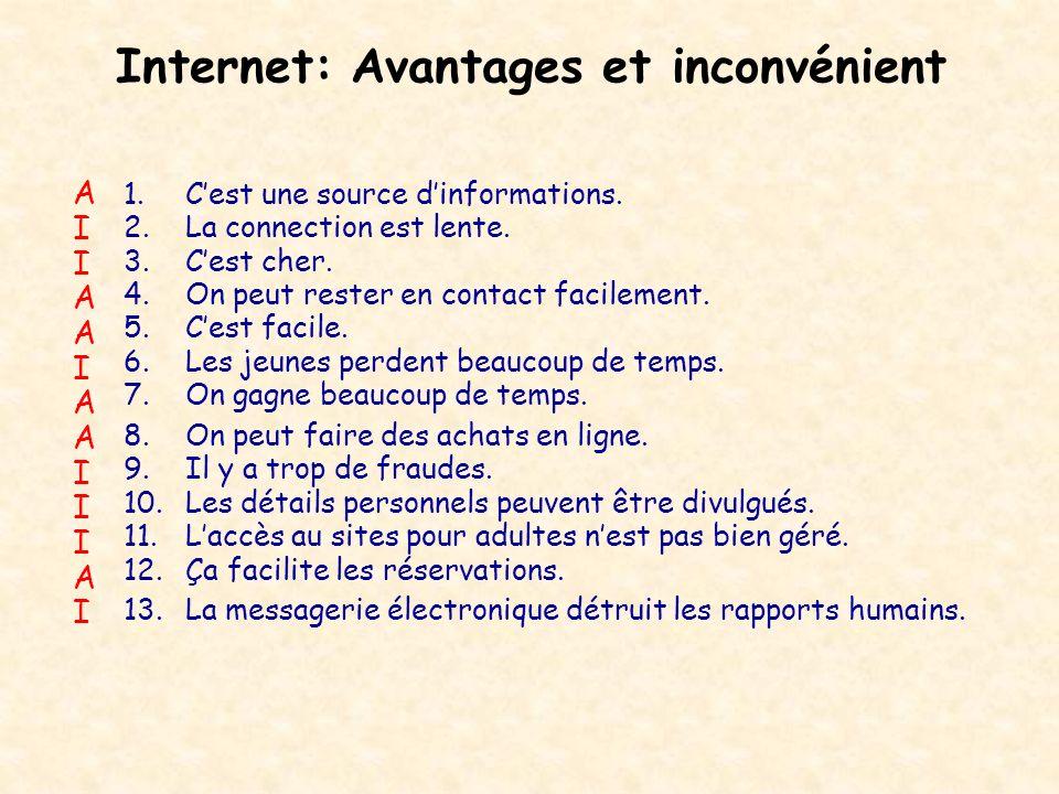 Internet: Avantages et inconvénient 1.Cest une source dinformations. 2.La connection est lente. 3.Cest cher. 4.On peut rester en contact facilement. 5