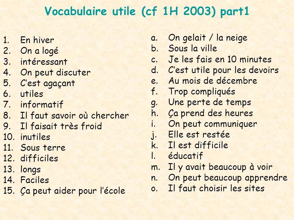 Vocabulaire utile (cf 1H 2003) part1 1.En hiver 2.On a logé 3.intéressant 4.On peut discuter 5.Cest agaçant 6.utiles 7.informatif 8.Il faut savoir où