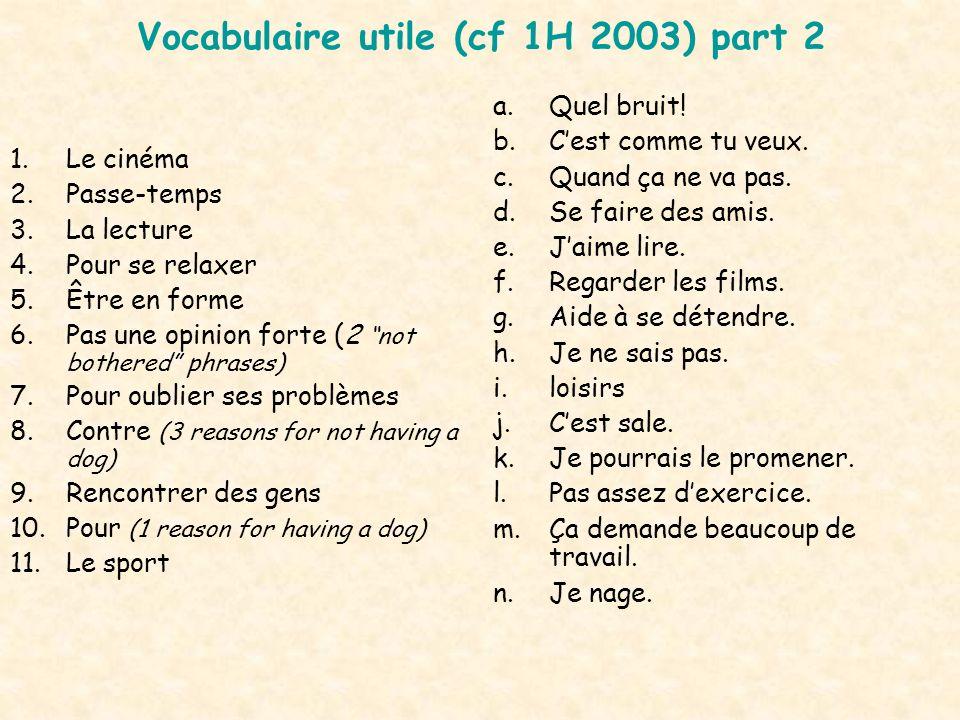 Vocabulaire utile (cf 1H 2003) part 2 1.Le cinéma 2.Passe-temps 3.La lecture 4.Pour se relaxer 5.Être en forme 6.Pas une opinion forte (2 not bothered