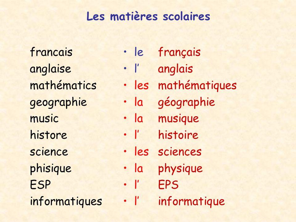 Les matières scolaires francais anglaise mathématics geographie music histore science phisique ESP informatiques français anglais mathématiques géogra