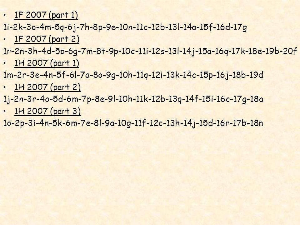 1i-2k-3o-4m-5q-6j-7h-8p-9e-10n-11c-12b-13l-14a-15f-16d-17g 1F 2007 (part 2) 1r-2n-3h-4d-5o-6g-7m-8t-9p-10c-11i-12s-13l-14j-15a-16q-17k-18e-19b-20f 1H