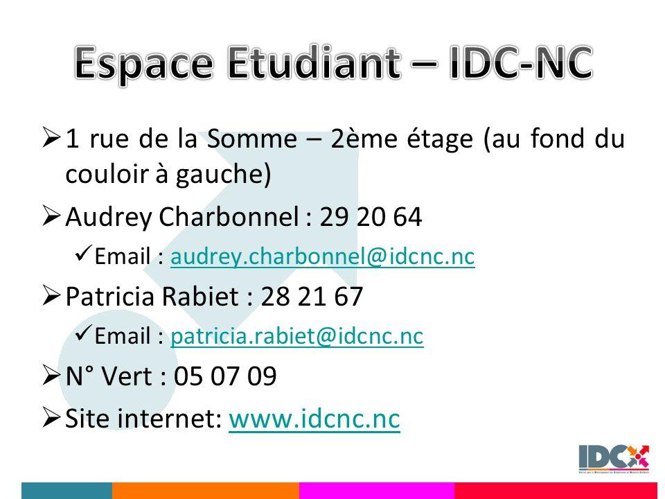 1 rue de la Somme – 2ème étage (au fond du couloir à gauche) Audrey Charbonnel : 29 20 64 Email : audrey.charbonnel@idcnc.ncaudrey.charbonnel@idcnc.nc Patricia Rabiet : 28 21 67 Email : patricia.rabiet@idcnc.ncpatricia.rabiet@idcnc.nc N° Vert : 05 07 09 Site internet: www.idcnc.ncwww.idcnc.nc