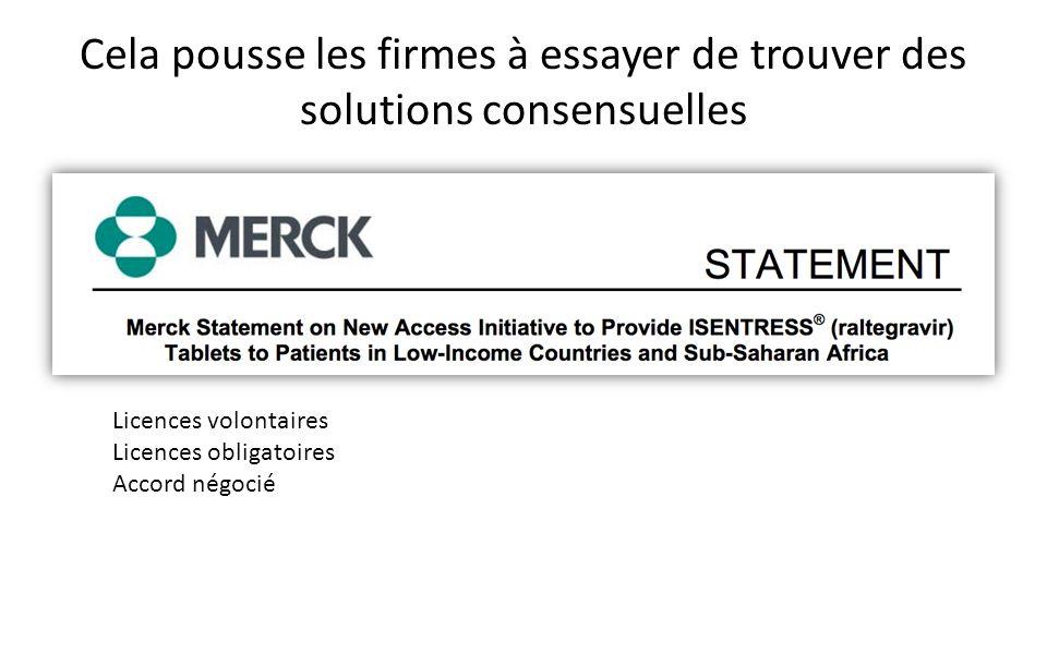 Cela pousse les firmes à essayer de trouver des solutions consensuelles Licences volontaires Licences obligatoires Accord négocié