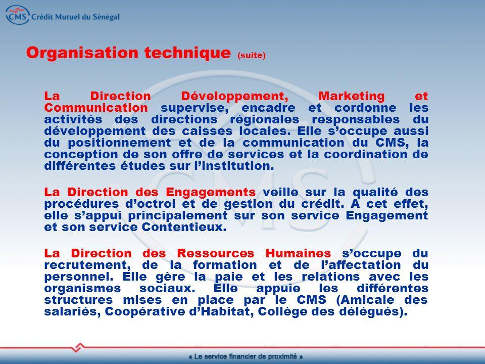 Organisation technique (suite) La Direction Développement, Marketing et Communication supervise, encadre et cordonne les activités des directions régionales responsables du développement des caisses locales.