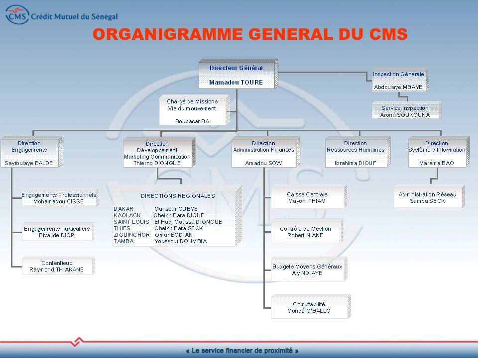 ORGANIGRAMME GENERAL DU CMS
