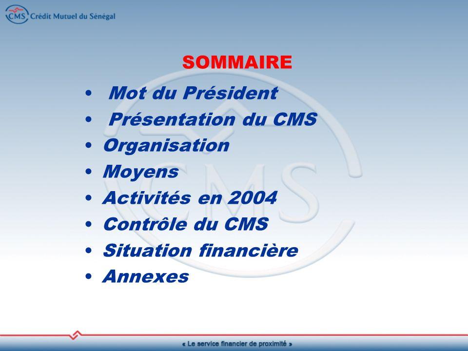 Mot du Président Présentation du CMS Organisation Moyens Activités en 2004 Contrôle du CMS Situation financière Annexes SOMMAIRE