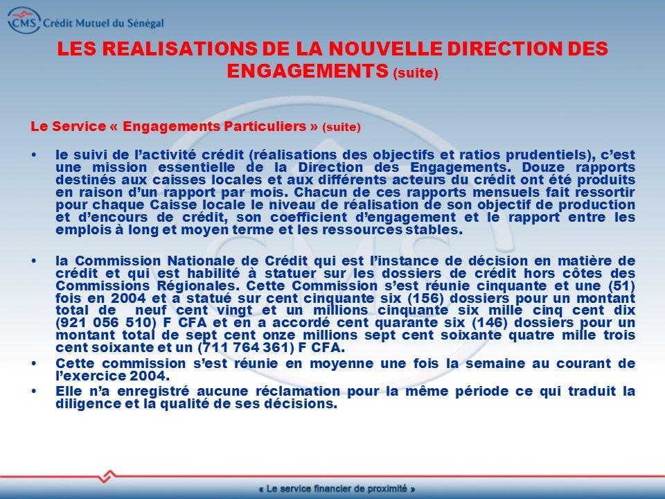 LES REALISATIONS DE LA NOUVELLE DIRECTION DES ENGAGEMENTS (suite) Le Service « Engagements Particuliers » (suite) le suivi de lactivité crédit (réalisations des objectifs et ratios prudentiels), cest une mission essentielle de la Direction des Engagements.