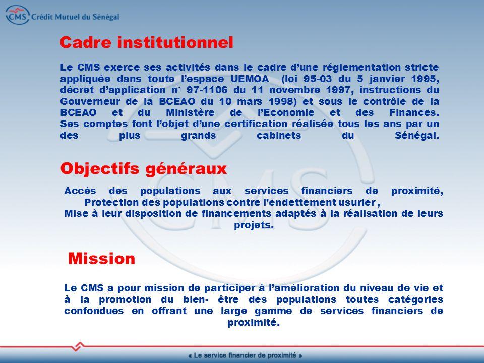 Le CMS exerce ses activités dans le cadre dune réglementation stricte appliquée dans toute lespace UEMOA (loi 95-03 du 5 janvier 1995, décret dapplication n° 97-1106 du 11 novembre 1997, instructions du Gouverneur de la BCEAO du 10 mars 1998) et sous le contrôle de la BCEAO et du Ministère de lEconomie et des Finances.
