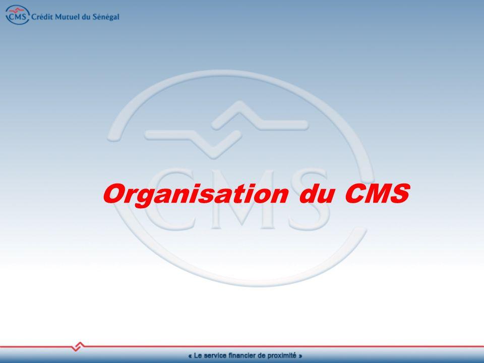 Chaque caisse comporte quatre organes : une Assemblée Générale, un Conseil dAdministration, un Conseil de Surveillance et une Commission de Crédit.