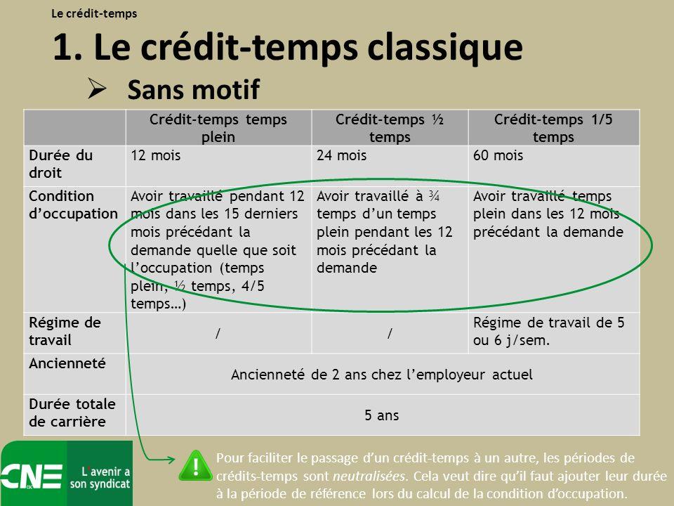 La seconde forme du crédit-temps classique : Le crédit-temps avec motif = arrêter de travailler ou diminuer les prestations de travail pendant une période sur base dun motif particulier.