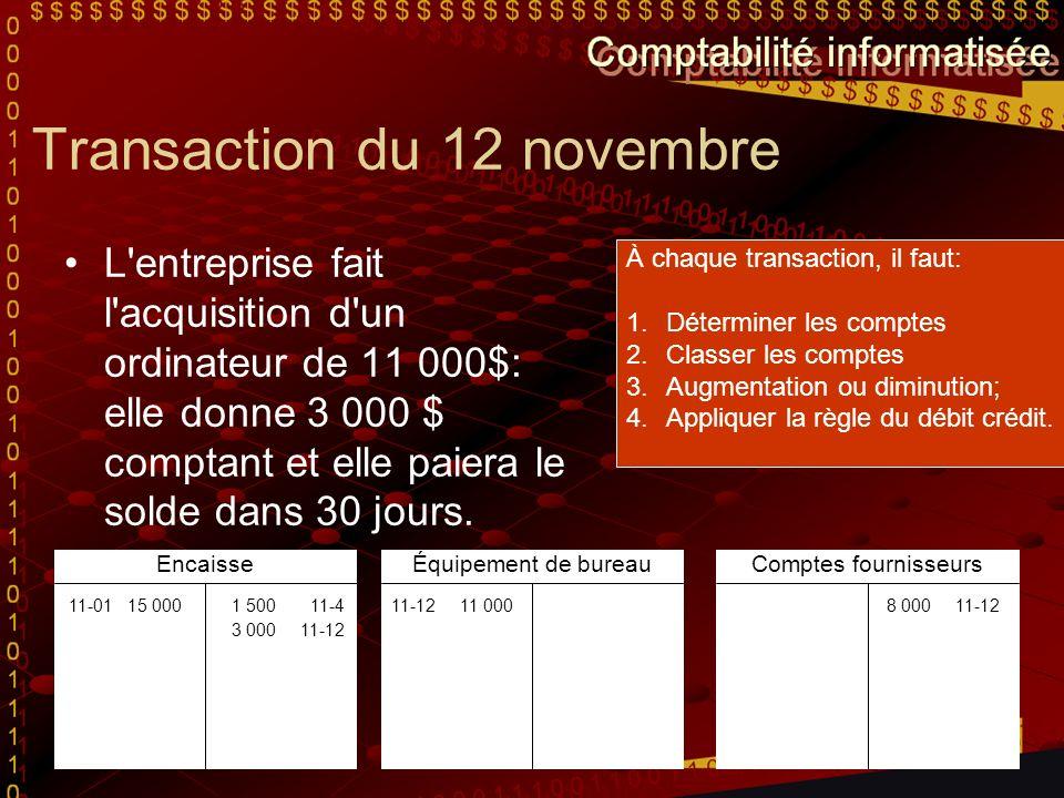 Transaction du 12 novembre L'entreprise fait l'acquisition d'un ordinateur de 11 000$: elle donne 3 000 $ comptant et elle paiera le solde dans 30 jou