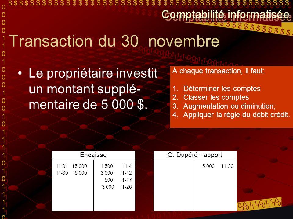 Transaction du 30 novembre Le propriétaire investit un montant supplé- mentaire de 5 000 $. À chaque transaction, il faut: 1.Déterminer les comptes 2.