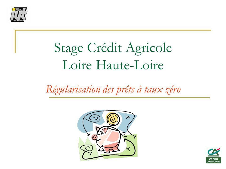 Stage Crédit Agricole Loire Haute-Loire Régularisation des prêts à taux zéro
