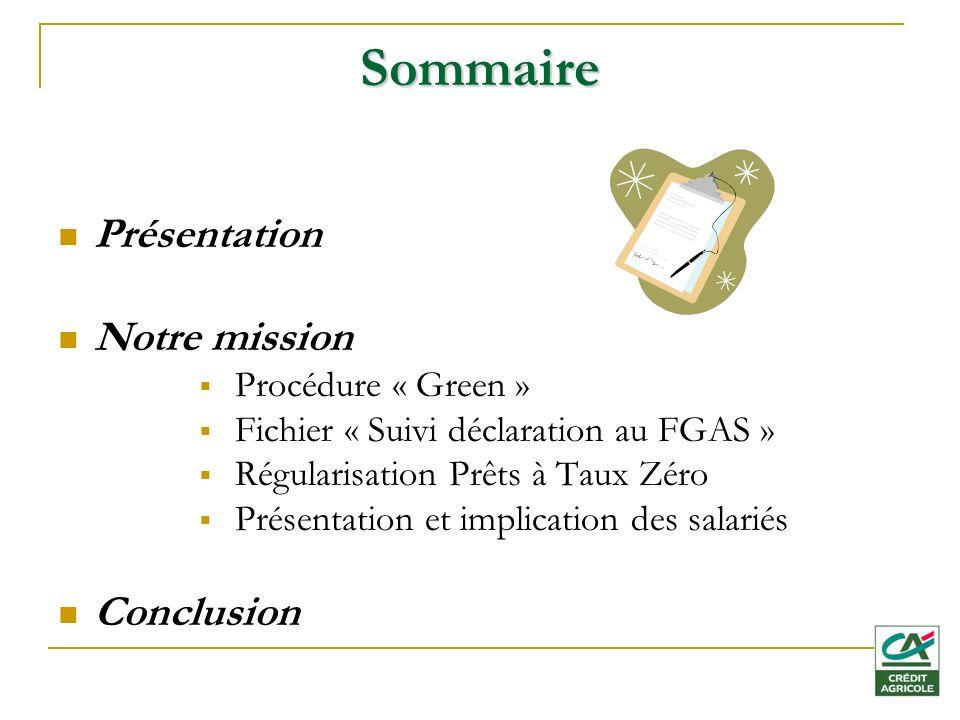 Sommaire Présentation Notre mission Procédure « Green » Fichier « Suivi déclaration au FGAS » Régularisation Prêts à Taux Zéro Présentation et implication des salariés Conclusion