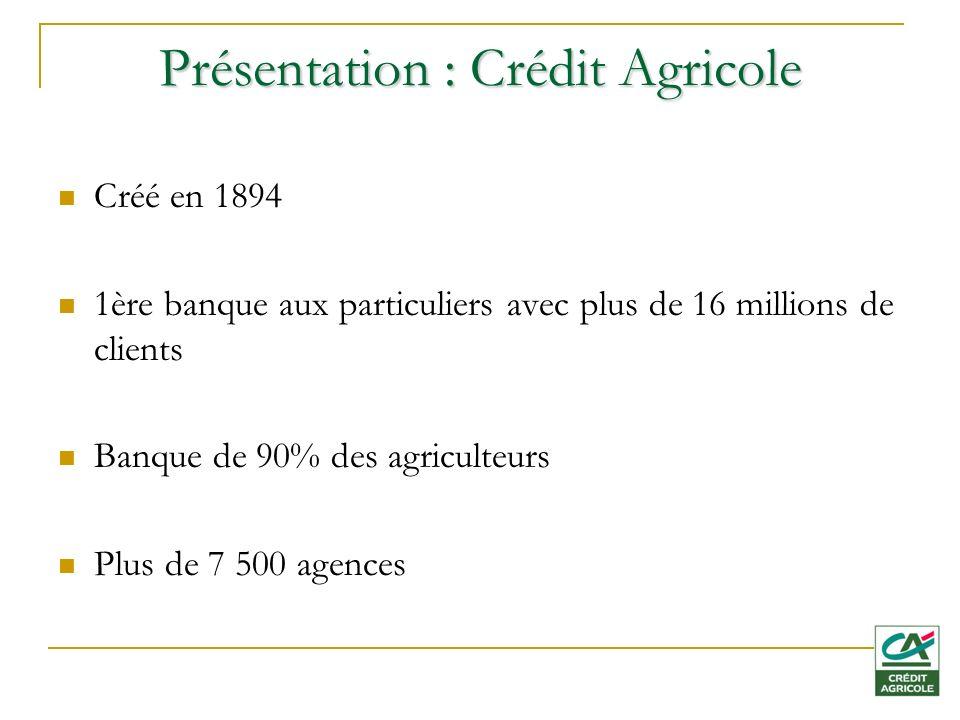 Présentation : Crédit Agricole Créé en 1894 1ère banque aux particuliers avec plus de 16 millions de clients Banque de 90% des agriculteurs Plus de 7 500 agences