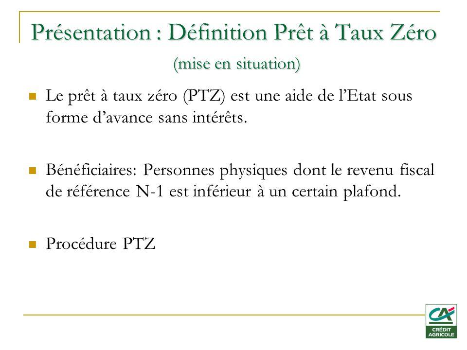 Présentation : Définition Prêt à Taux Zéro (mise en situation) Le prêt à taux zéro (PTZ) est une aide de lEtat sous forme davance sans intérêts.
