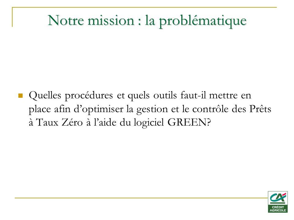Notre mission : la problématique Quelles procédures et quels outils faut-il mettre en place afin doptimiser la gestion et le contrôle des Prêts à Taux Zéro à laide du logiciel GREEN?