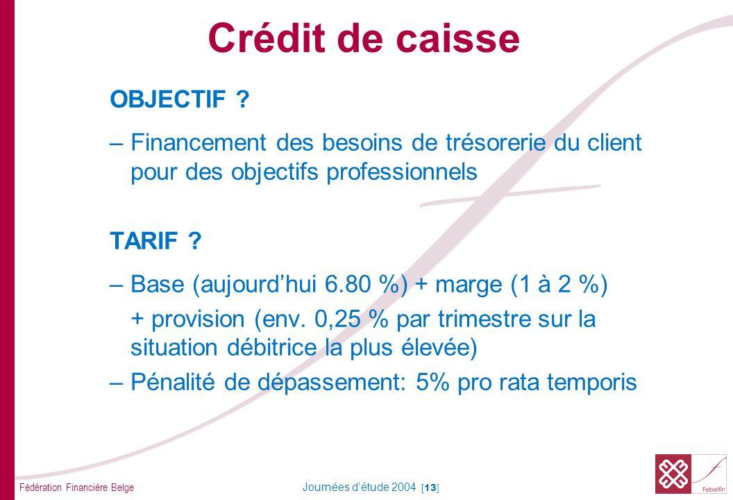 Fédération Financière Belge Journées détude 2004 [13] OBJECTIF ? –Financement des besoins de trésorerie du client pour des objectifs professionnels TA