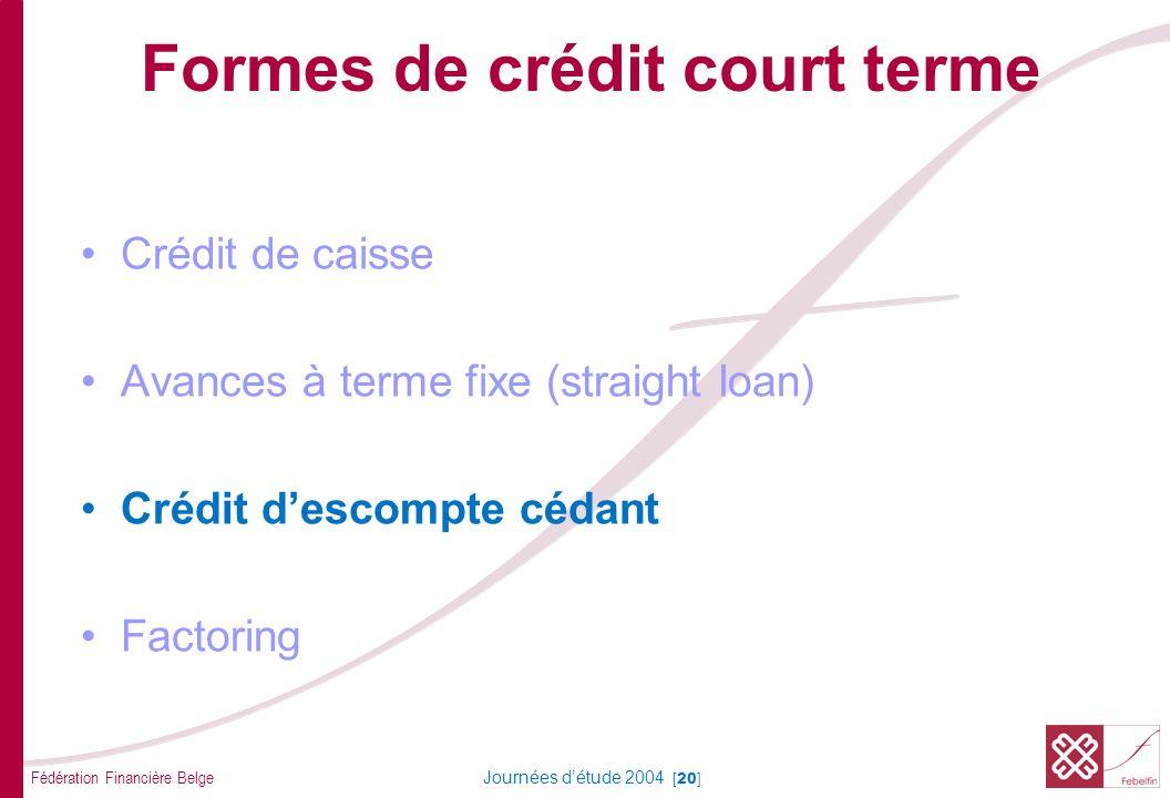 Fédération Financière Belge Journées détude 2004 [20] Formes de crédit court terme Crédit de caisse Avances à terme fixe (straight loan) Crédit descompte cédant Factoring