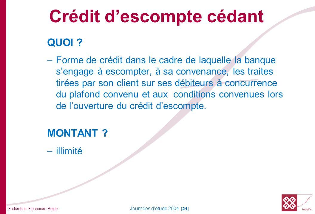 Fédération Financière Belge Journées détude 2004 [21] QUOI ? –Forme de crédit dans le cadre de laquelle la banque sengage à escompter, à sa convenance