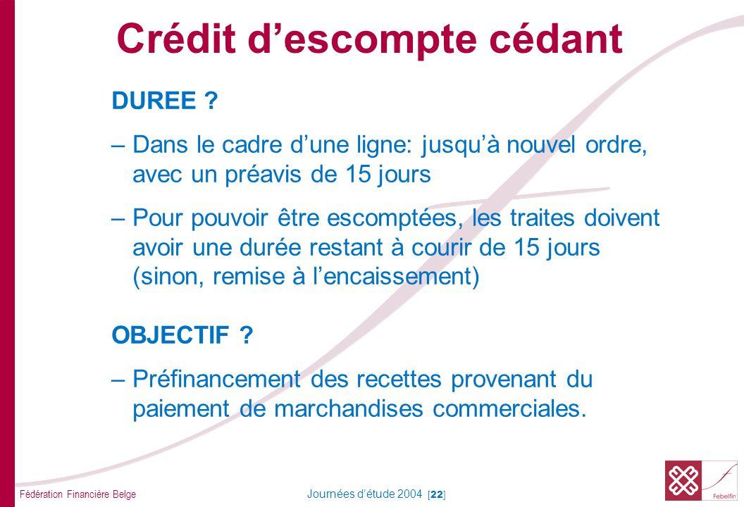 Fédération Financière Belge Journées détude 2004 [22] DUREE ? –Dans le cadre dune ligne: jusquà nouvel ordre, avec un préavis de 15 jours –Pour pouvoi