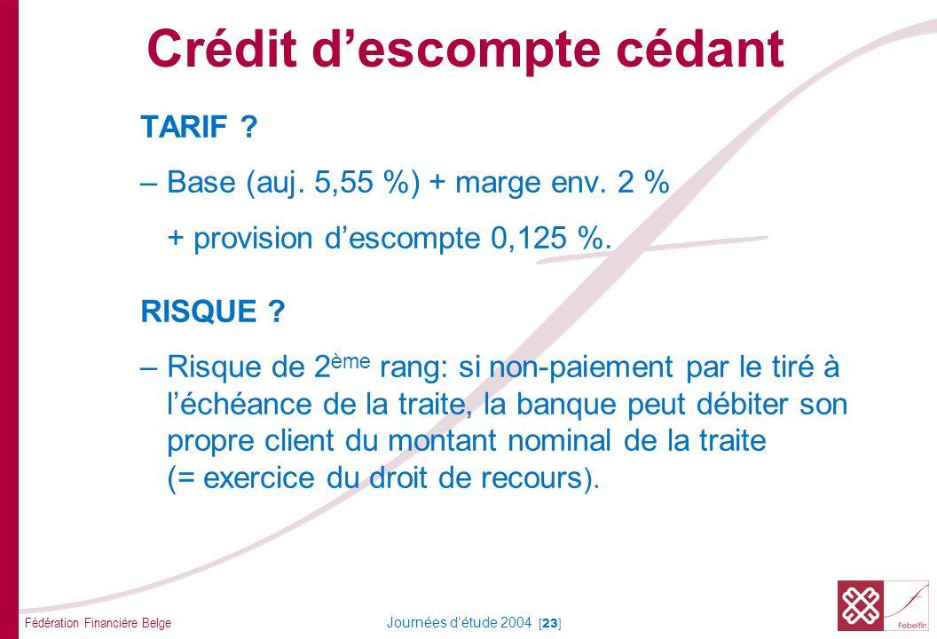 Fédération Financière Belge Journées détude 2004 [23] TARIF ? –Base (auj. 5,55 %) + marge env. 2 % + provision descompte 0,125 %. RISQUE ? –Risque de