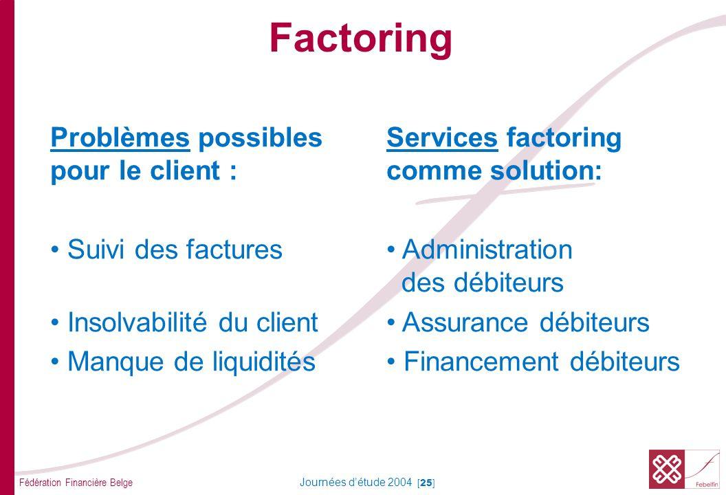 Fédération Financière Belge Journées détude 2004 [25] Factoring Problèmes possiblesServices factoring pour le client :comme solution: Suivi des factur