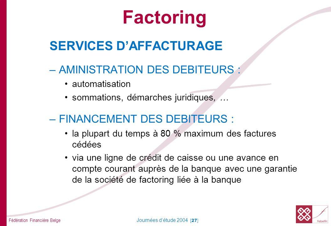 Fédération Financière Belge Journées détude 2004 [27] SERVICES DAFFACTURAGE –AMINISTRATION DES DEBITEURS : automatisation sommations, démarches juridi