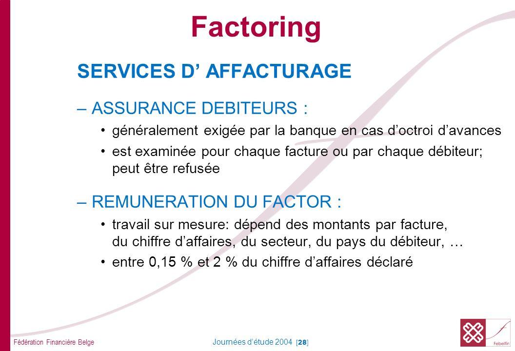 Fédération Financière Belge Journées détude 2004 [28] SERVICES D AFFACTURAGE –ASSURANCE DEBITEURS : généralement exigée par la banque en cas doctroi d