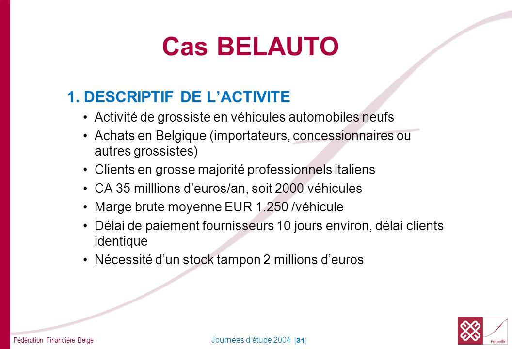 Fédération Financière Belge Journées détude 2004 [31] 1. DESCRIPTIF DE LACTIVITE Activité de grossiste en véhicules automobiles neufs Achats en Belgiq