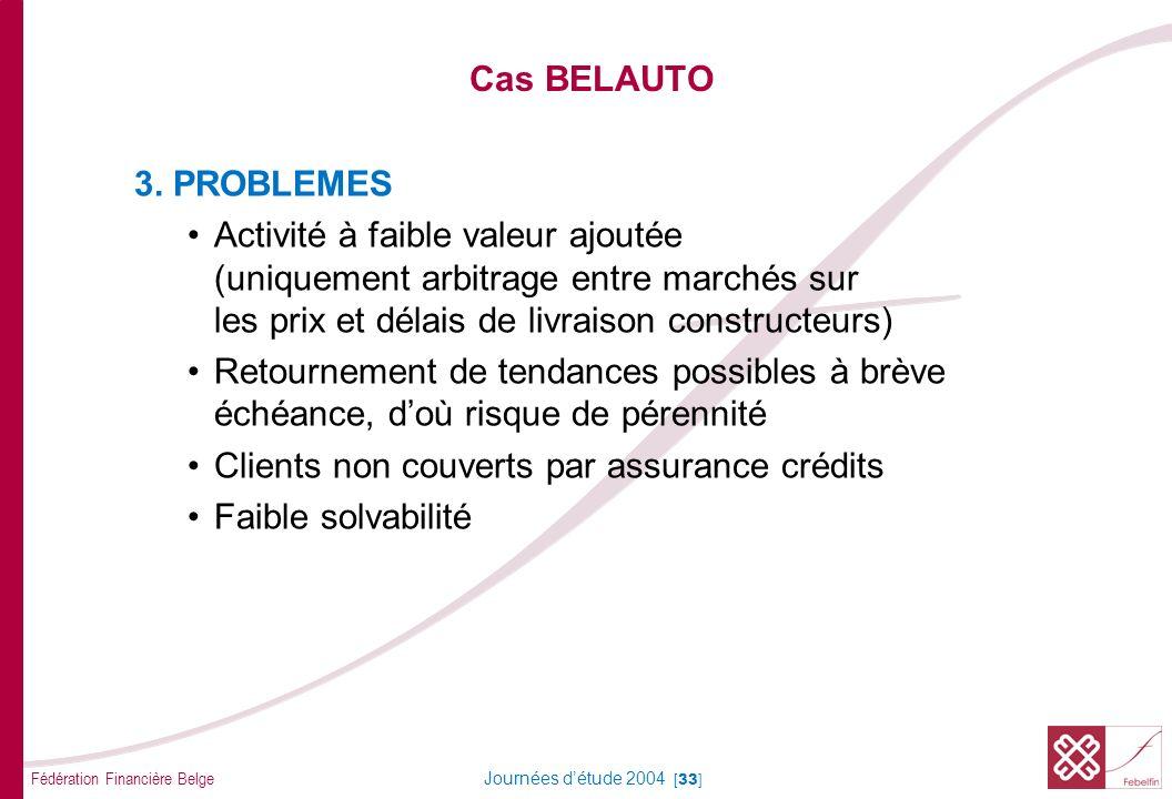 Fédération Financière Belge Journées détude 2004 [33] Cas BELAUTO 3. PROBLEMES Activité à faible valeur ajoutée (uniquement arbitrage entre marchés su