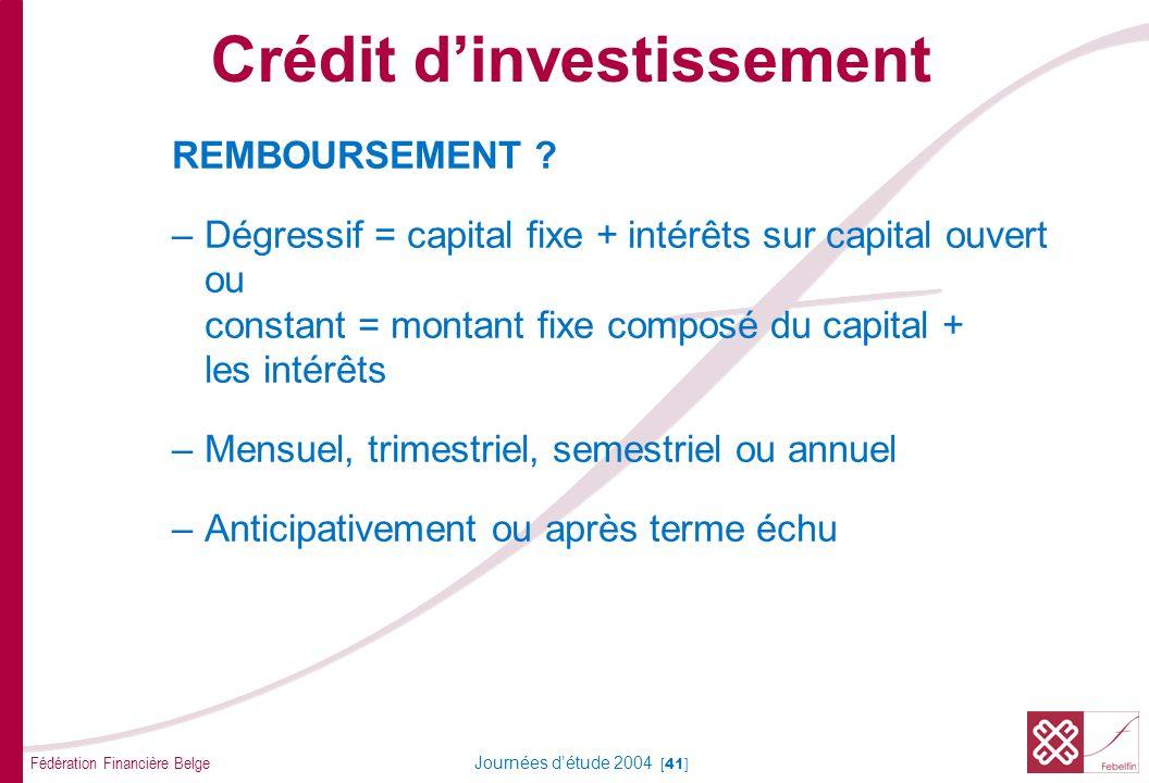 Fédération Financière Belge Journées détude 2004 [41] REMBOURSEMENT ? –Dégressif = capital fixe + intérêts sur capital ouvert ou constant = montant fi