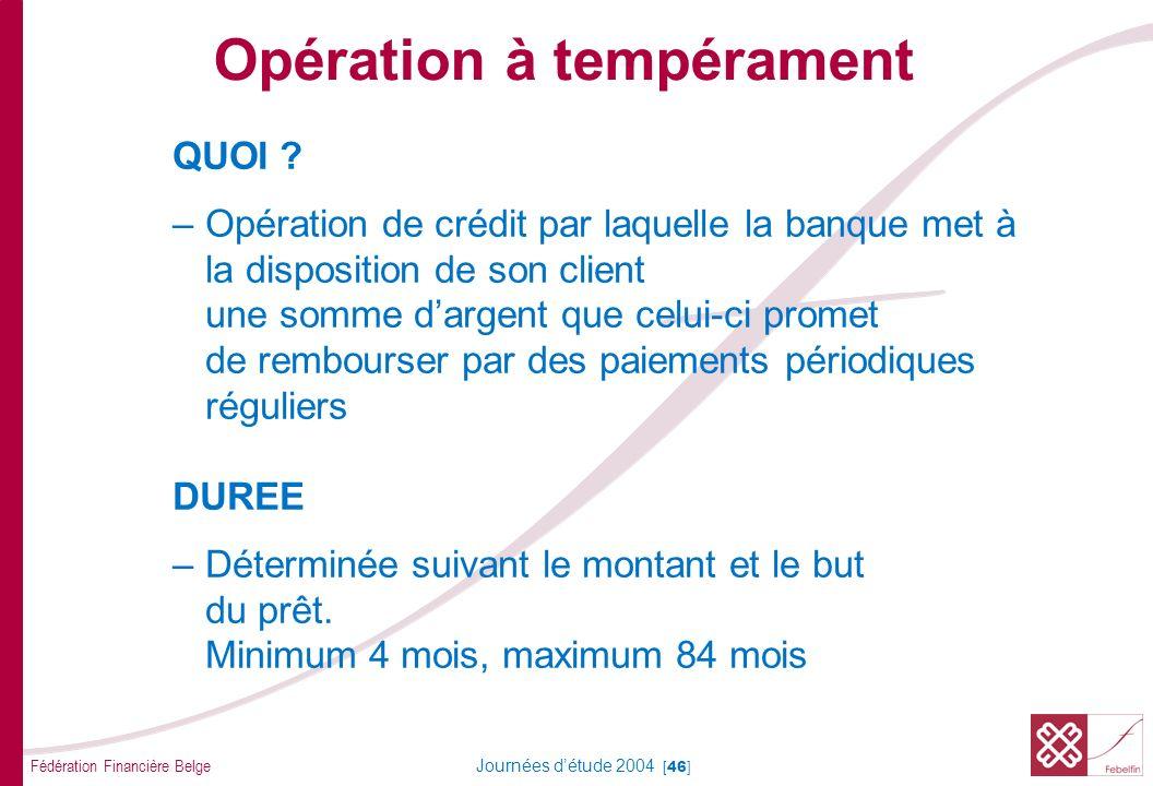 Fédération Financière Belge Journées détude 2004 [46] QUOI ? –Opération de crédit par laquelle la banque met à la disposition de son client une somme