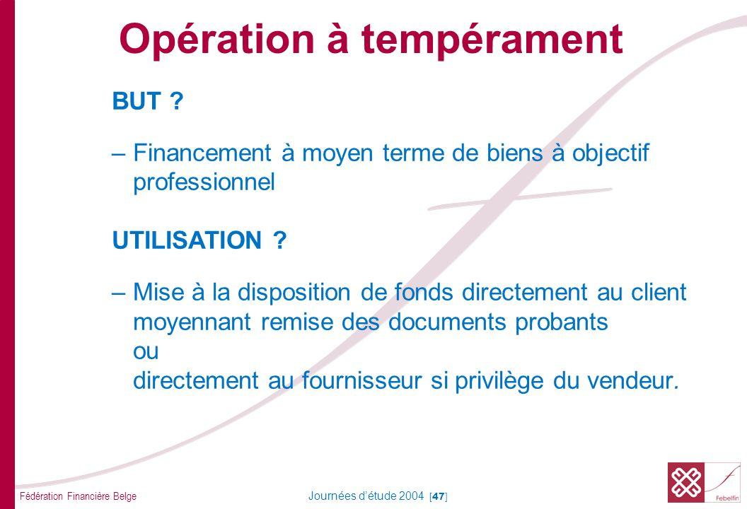 Fédération Financière Belge Journées détude 2004 [47] BUT ? –Financement à moyen terme de biens à objectif professionnel UTILISATION ? –Mise à la disp