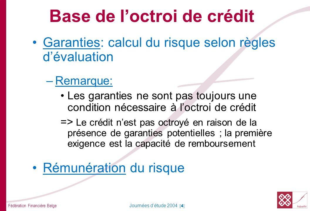 Fédération Financière Belge Journées détude 2004 [5] Base de loctroi de crédit Analyse du crédit Approche besoins CT et LT Introduction théorique
