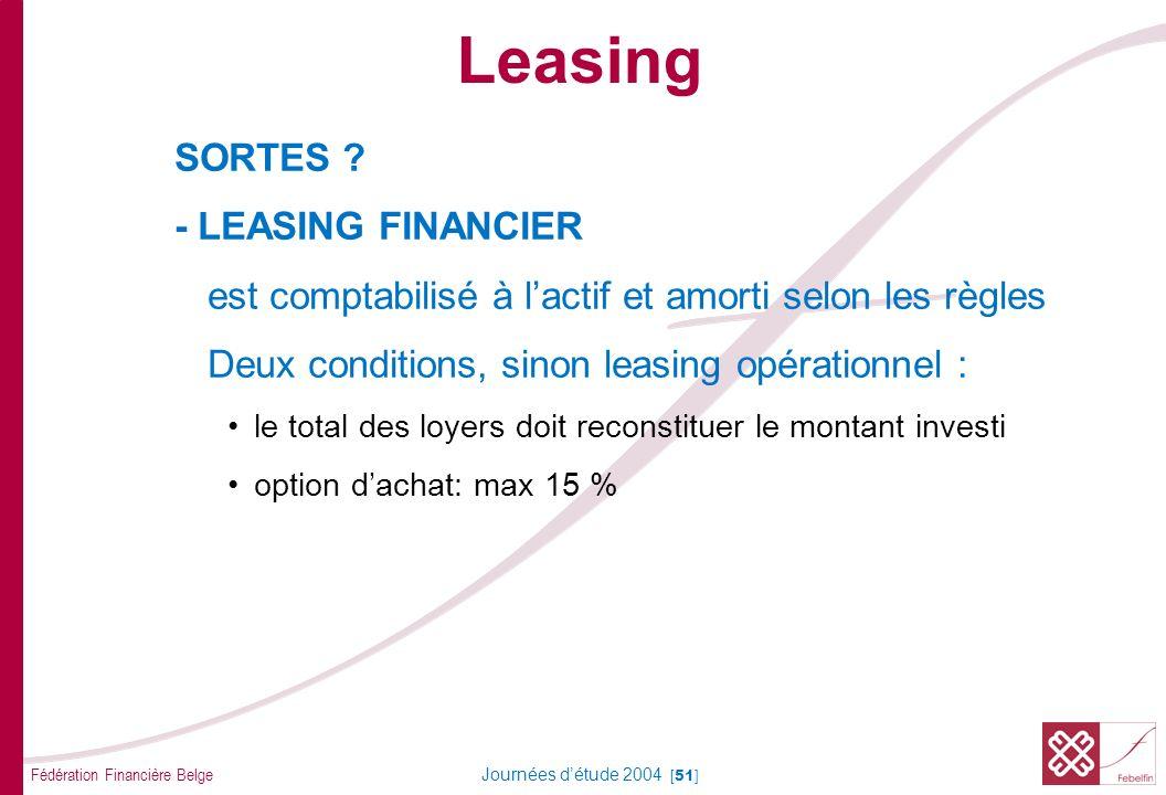 Fédération Financière Belge Journées détude 2004 [51] SORTES ? - LEASING FINANCIER est comptabilisé à lactif et amorti selon les règles Deux condition