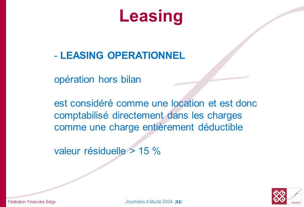 Fédération Financière Belge Journées détude 2004 [52] - LEASING OPERATIONNEL opération hors bilan est considéré comme une location et est donc comptab