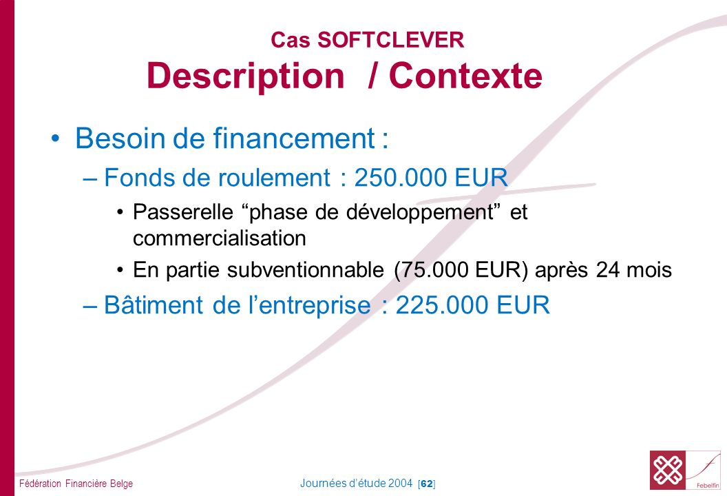 Fédération Financière Belge Journées détude 2004 [62] Cas SOFTCLEVER Description / Contexte Besoin de financement : –Fonds de roulement : 250.000 EUR Passerelle phase de développement et commercialisation En partie subventionnable (75.000 EUR) après 24 mois –Bâtiment de lentreprise : 225.000 EUR