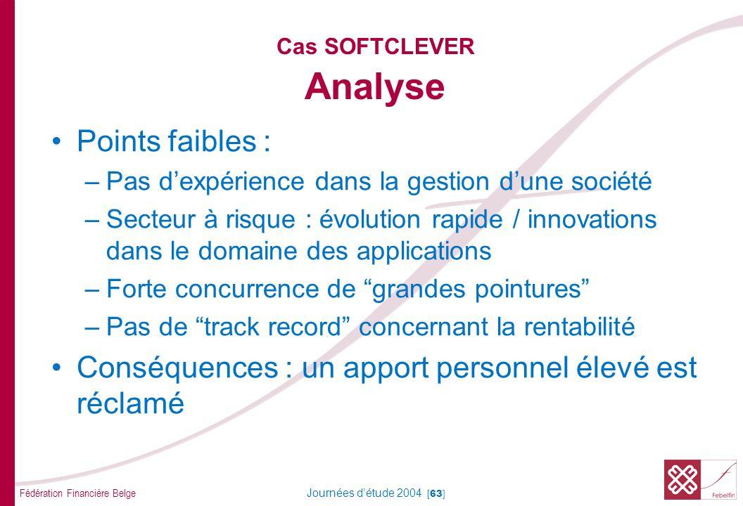 Fédération Financière Belge Journées détude 2004 [63] Cas SOFTCLEVER Analyse Points faibles : –Pas dexpérience dans la gestion dune société –Secteur à