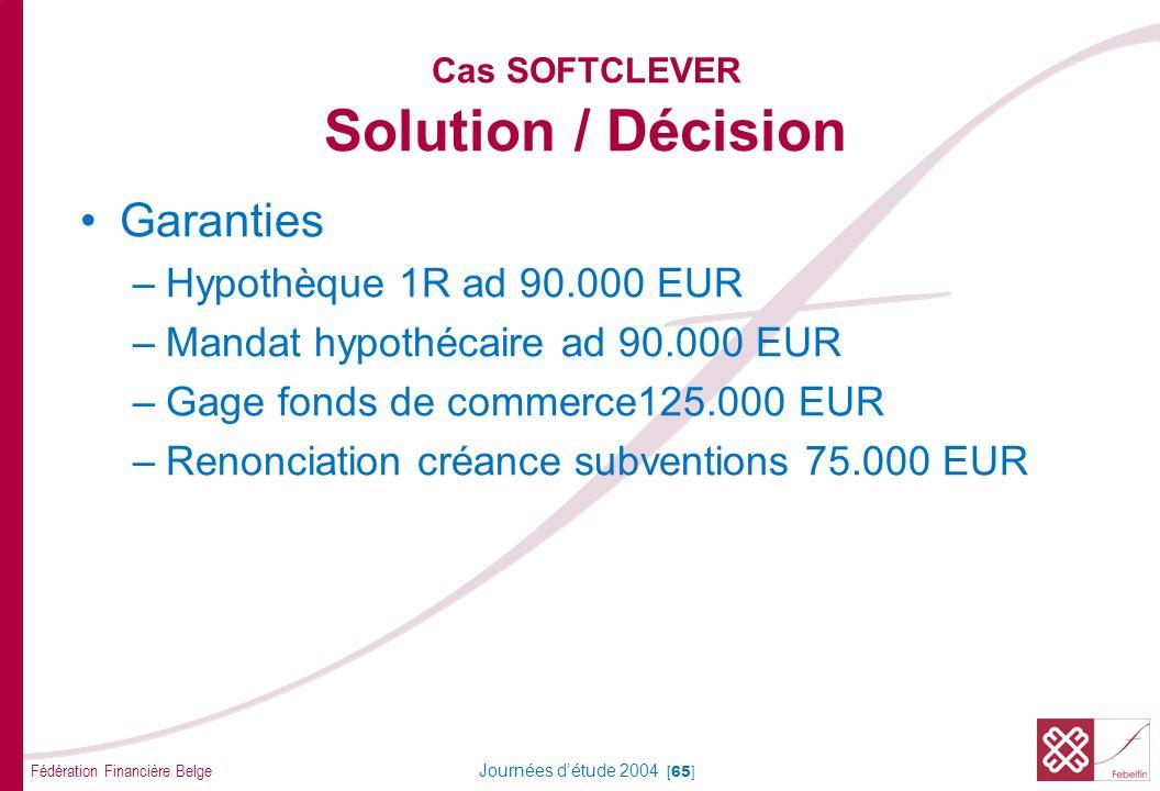 Fédération Financière Belge Journées détude 2004 [65] Cas SOFTCLEVER Solution / Décision Garanties –Hypothèque 1R ad 90.000 EUR –Mandat hypothécaire a