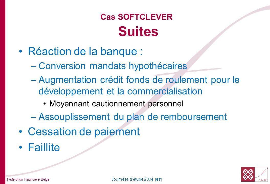 Fédération Financière Belge Journées détude 2004 [67] Cas SOFTCLEVER Suites Réaction de la banque : –Conversion mandats hypothécaires –Augmentation cr